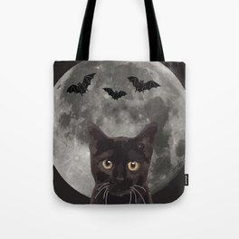 Black Cat with three bats and Moon Tote Bag