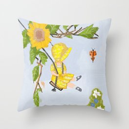 Sunbonnet and Butterfly vintage Throw Pillow