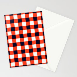 Orange Red Black White Classic Checkerboard Stationery Cards