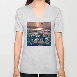 Fishing Above the Clouds Unisex V-Neck