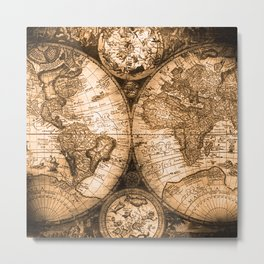 World Map Antique Vintage Maps Metal Print