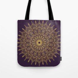 Gold Mandala Line Drawing on violet Tote Bag