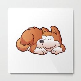 Cute puppy cartoon sleeping Metal Print