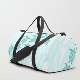 Watercolor Teal Sea Turtles on Swirly Stripes Duffle Bag