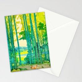 Yoshida Hiroshi Bamboo Grove Vintage Japanese Woodblock Print Bright Green Bamboo Landscape Forest Stationery Cards