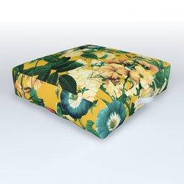 Tangerine Floral Pattern Vintage Outdoor Floor Cushion