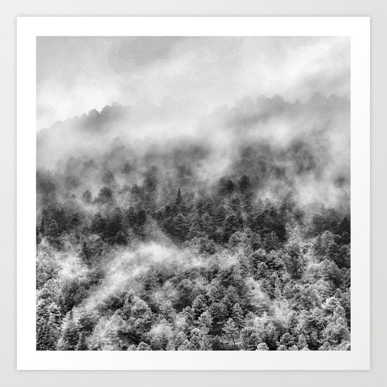 """Mountain light III BW"". Foggy forest. Art Print"