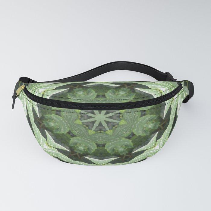 Tropical Twist - Green Leaves Kaleidoscope, Mandala Fanny Pack
