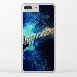 Electric Blue Guitar Clear iPhone Case
