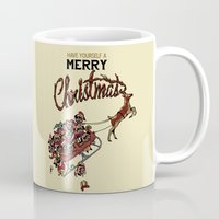pugs Mugs featuring Pugs Christmas by Huebucket
