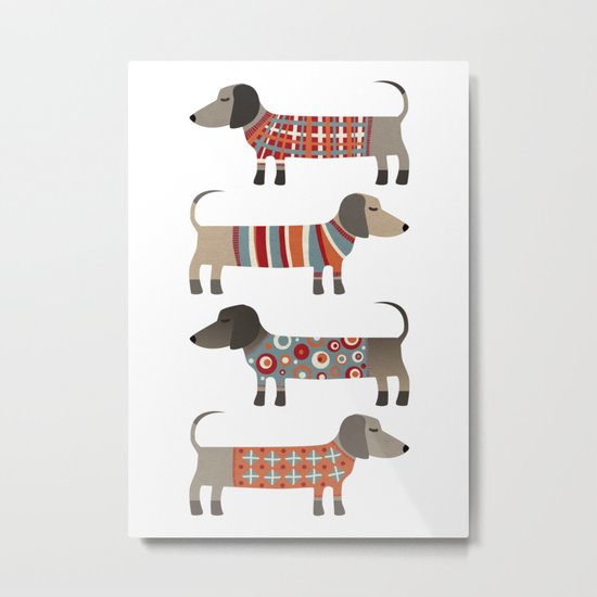 Sausage Dogs in Sweaters Metal Print