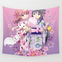 madoka magica Wall Tapestries featuring Madoka Kaname & Homura Akemi - Love Yukata edit. by Yue Graphic Design