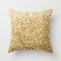 gold glitter Throw Pillows featuring Gold glitter by Masanori Kai