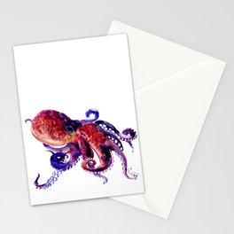 Octopus, Red Purple Sea World OCtopus art Stationery Cards