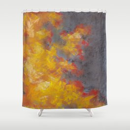 Abstract Drawing Of Fire On A Gray Background Shower Curtain