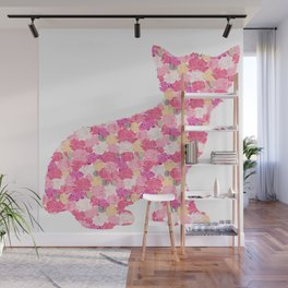 Kitten Silhouette with Peony Flowers Inlay Wall Mural