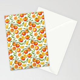 orange pattern tangerine citrus print Stationery Cards