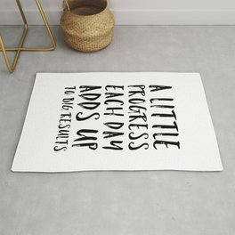 A Little Progress Motivational Quote Rug