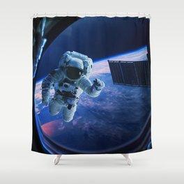 Astronaut in orbit Shower Curtain
