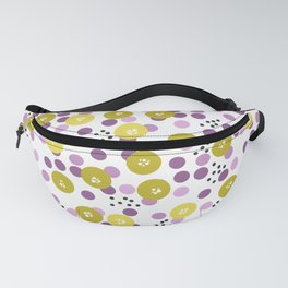 Yellow and pink polka dots on a black background . Fanny Pack
