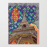 eiffel tower Canvas Prints featuring Eiffel Tower by Art By Carob