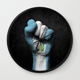 Guatemalan Flag on a Raised Clenched Fist Wall Clock