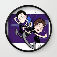 phil jones Wall Clocks featuring Dan & Phil by gabitozati