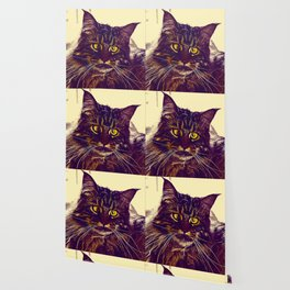 squinting maine coon cat vector art foggy night Wallpaper