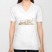 buildings V-neck T-shirts featuring Two Buildings by Qin Leng