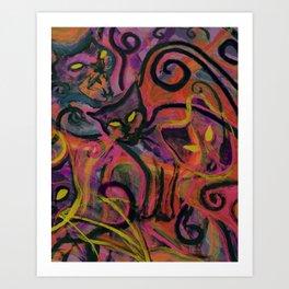 Wildfire Cats Art Print