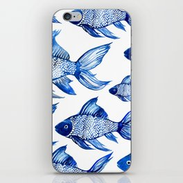 BLUE SCHOOL OF FISH iPhone Skin