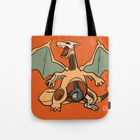 charizard Tote Bags featuring Charizard Anatomy by Logan Niblock