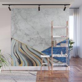Geometric White Marble - Blue Marble & Blue Granite #167 Wall Mural