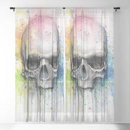 Skull Rainbow Watercolor Sheer Curtain