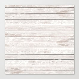 Rustic ivory white vintage wood Canvas Print