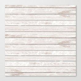 Rustic ivory white vintage wood Canvas Print