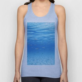 School of Fish Swimming over Sand Bottom in the Tropical Sea Unisex Tank Top