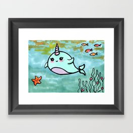 Cute narwhal Framed Art Print