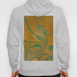 Waves and curls in blue and golden tones Hoody