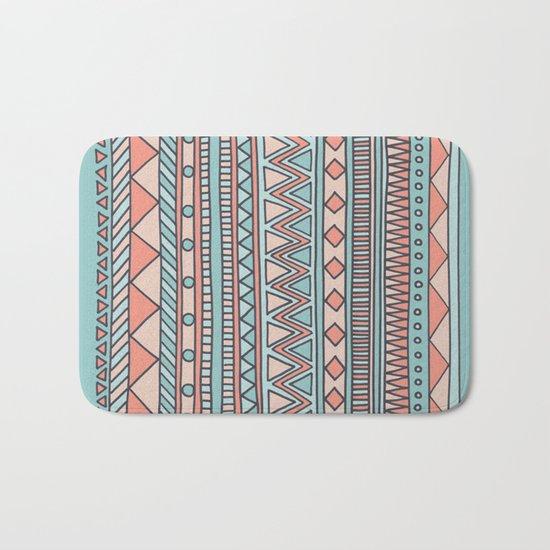 Tribal #4 (Coral/Aqua) Bath Mat