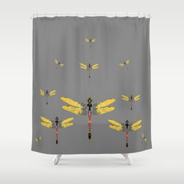 GOLDEN-RED DRAGONFLIES ON GREY Shower Curtain
