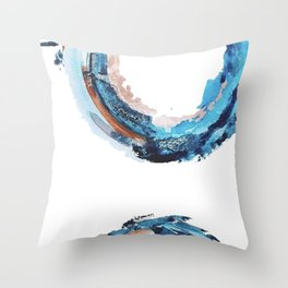 Galaxies Collide: a minimal, abstract watercolor in blues and pink by Alyssa Hamilton Art Throw Pillow
