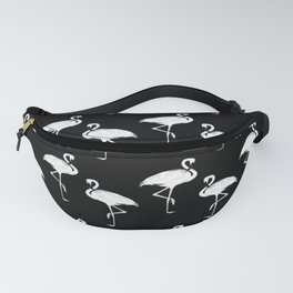 Flamingos Black and White Pattern Fanny Pack