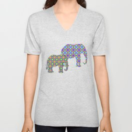 Tribal patterns in rainbow colors Unisex V-Neck