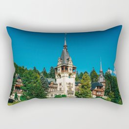 Peles Palace In Transylvania, Architecture Photography, Medieval Castle, Mountain Landscape, Romania Rectangular Pillow