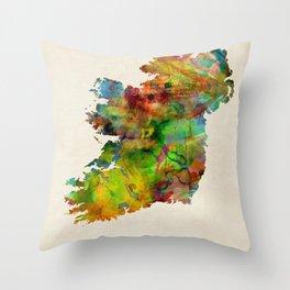 Ireland Eire Watercolor Map Throw Pillow