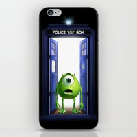 monster inc iPhone & iPod Skins featuring Tardis Monster inc by DavinciArt