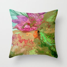 Abtract leaves and flower Throw Pillow