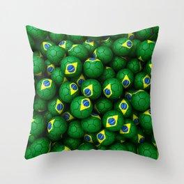 BRAZIL FOOTBALLS Throw Pillow