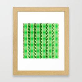 Green Hibiscus Honu Stripes Framed Art Print